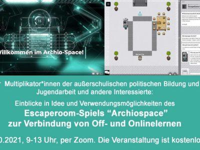 """Escape-Room-Projekt """"Archiospace"""" zur Verbindung von Off- und Onlinelernen - Jetzt anmelden zur kostenlosen Onlinefortbildung"""